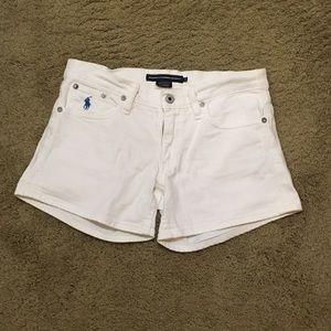 White Ralph Lauren jean shorts.